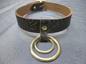 Leather Ancient Pharaoh Gold Design 2 Ring Collar